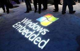 The logo of Microsoft's Windows operating system is projected at a consumer electronics fair in Las Vegas