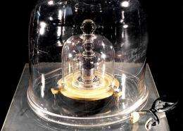 The original cylinder of platinum and iridium used as the standard weight for one kilogram